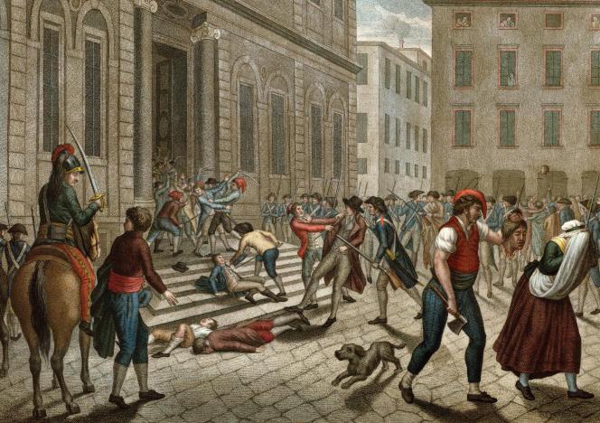 Gravure représentant une scène de massacre à Lyon, en décembre1793.