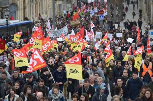 Manifestation à Montpellier, mardi 3 avril.