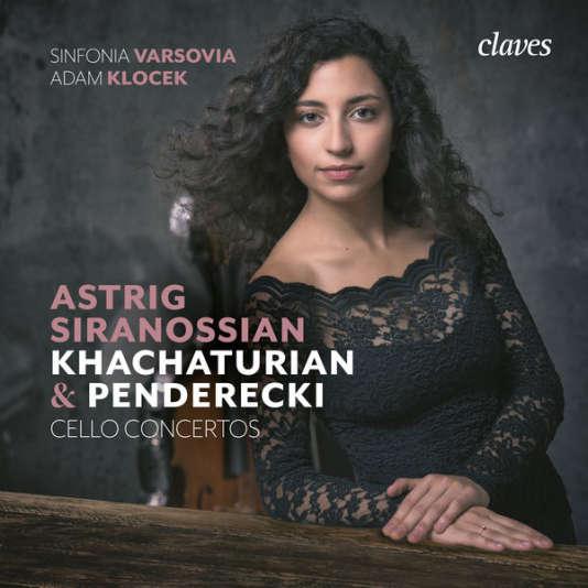 Pochette de l'album « Cello Concertos»,de la violoncellisteAstrig Siranossian, consacré aux concertos d'Aram Khatchaturian et de Krzysztof Penderecki, avec le Sinfonia Varsovia (Adam Klocek).
