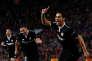 Wissam Ben Yedder, célébre un doublé dont il est l'auteur contre Manchester United en Ligue des champions, le 13 mars.