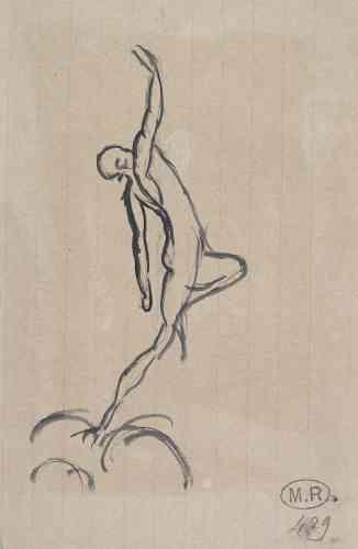 «Le travail sur l'équilibre, l'impulsion et le saut est au cœur des œuvres de Rodin et des recherches des danseurs de son époque. Cette figure masculine, debout sur une jambe, les bras en extension, le corps cambré, semble se jouer de la gravité, prête à s'envoler.»