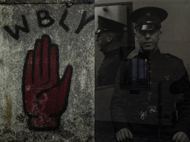 Une archive de l'ancienne prison de Crumlin Road, à Belfast. Un des gardiens fait face à la main rouge, symbole de l'Ulster repris par des groupes armés protestants.