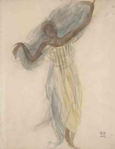 «Les dessins des danseuses du Ballet royal du Cambodge ont tous été réalisés sur le vif, dans le temps très court de leur visite en France en juillet 1906. Rodin est frappé par le fait que ces danseuses ont toujours les jambes à-demi pliées et que leurs mouvements lents se déploient dans l'espace, selon un axe vertical et non latéral.»