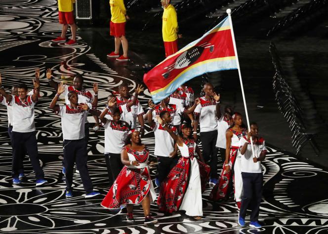 La délégation de l'Eswatini lors de la cérémonie d'ouverture des Jeux duCommonwealth, le 4 avril 2018.