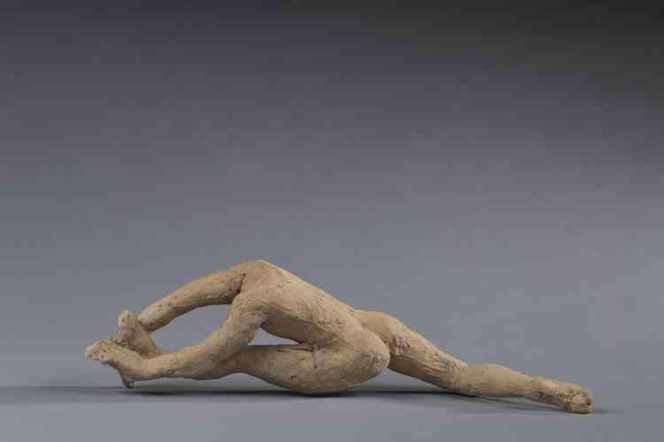 """«Cette statuette est l'un des douze """"Mouvements de danse"""" sculptés par Rodin vers 1911 à partir de l'observation des mouvements d'une jeune danseuse, Alda Moreno. Rodin utilise des abattis en argile qu'il assemble pour composer des attitudes différentes, selon que les jambes et les bras sont tendus ou pliés.»"""