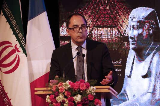 Le président du Louvre, Jean-Luc Martinez, lors d'un discours pour l'inauguration d'une exposition au Musée national de Téhéran, le 5 mars 2018.