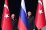 Le président turc Recep Tayyip Erdogan et son homologue russe Vladimir Poutine au palais présidentiel d'Ankara, le 3 avril 2018.
