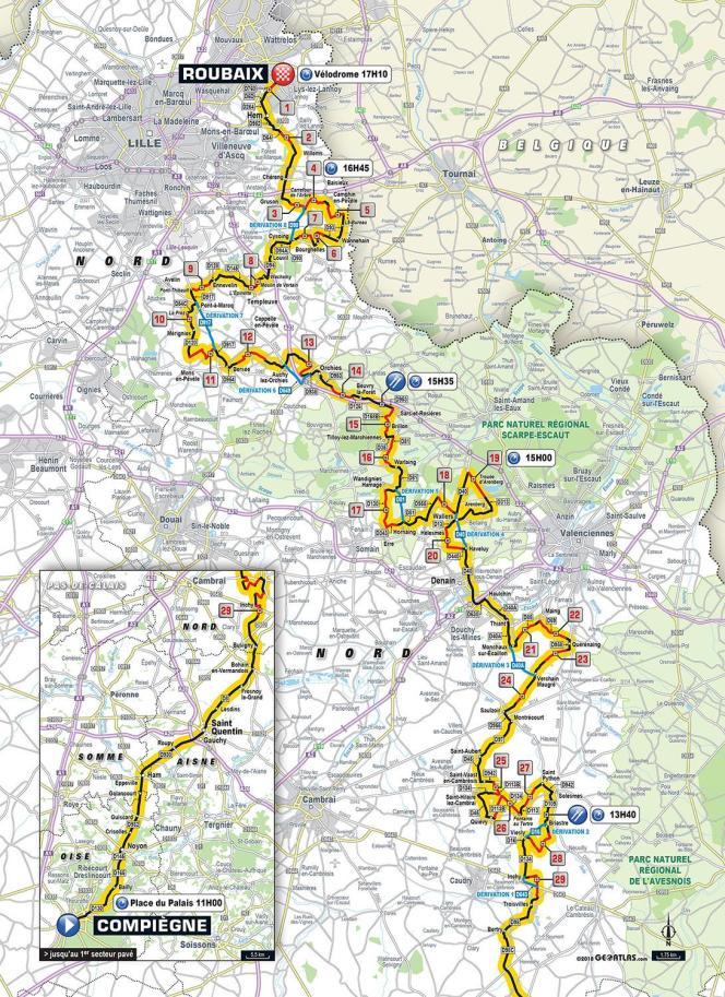 Parcours du Paris-Roubaix 2018.