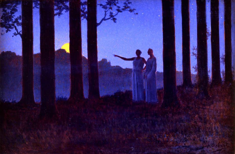 """«Exposé à la Rose-Croix en 1897, """"Le Mystère de la nuit"""" est représentatif des principes esthétiques d'Osbert qui rejoignent ceux du Sâr Péladan. Simplification de l'espace, rigueur de la composition scandée par les arbres, dessin synthétique, aplat et monochromie au bleu caractéristique, en font une œuvre éminemment décorative où domine un sentiment d'harmonie, de sérénité et de spiritualité.»"""