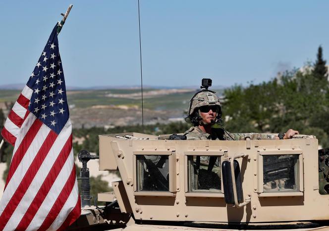 Un militaire américain à Manbij, Syrie, le 4 avril 2018.