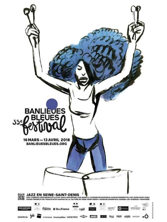 Affiche du 35e festival Banlieues bleues.
