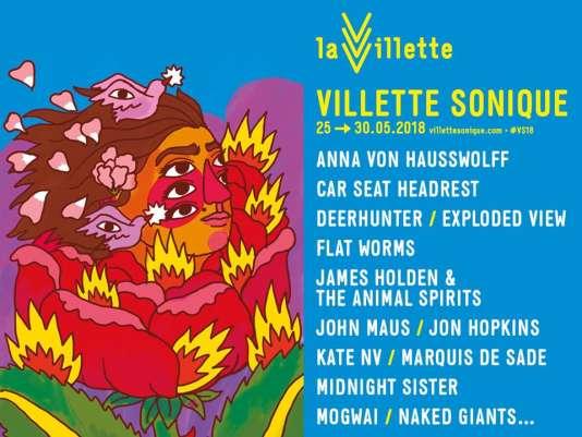 Affiche de l'édition 2018 dufestival Villette Sonique à Paris, du 25 au 30 mai.