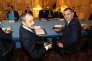 Les dirigeants corses Jean-Guy Talamoni (à gauche) et Gilles Simeoni (à droite) lors d'une réunion avec le ministre de l'intérieur, Gérard Collomb, et le premier ministre, Edouard Philippe, le 22 janvier 2018 à Matignon.