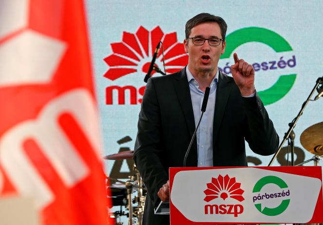 Le candidat du Parti socialiste hongrois, Gergely Karacsony, à Budapest, le 6 avril.