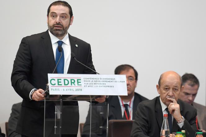 Le premier ministre libanais, Saad Hariri, et le ministre des affaires étrangères français, Jean-Yves Le Drian, à Paris, le 6 avril.