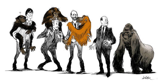 « Nous ne verrons jamais de dodo, cet oiseau exterminé il y a à peine trois cents ans...Mais, dans vingt à cinquante ans, nous aurons peut-être à pleurer la disparition des orangs-outans, des gorilles et des chimpanzés.» (Le dessinateur Aurel a cédé ses droits d'auteur pour le dessin fait pour illustrer cette tribune).