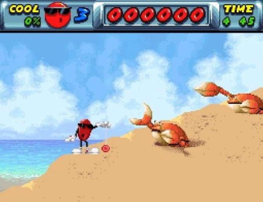 Cool Spot, l'ancienne mascotte de 7up, en train de jouer du yo-yo devant des crabes. (Selon Pixels, cette scène séminale a défini les années 1990.)