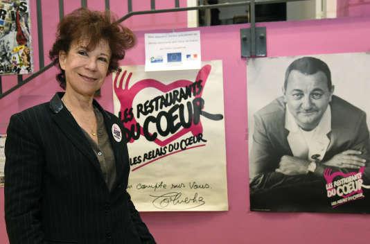 Veronique Colucci lors du lancement de la 32e campagne hivernale des Restos du cœur en novembre 2016 à Paris.