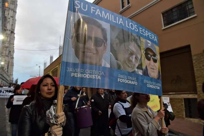 Manifestation de soutien aux trois otages, à Quito, le 5 avril 2018.