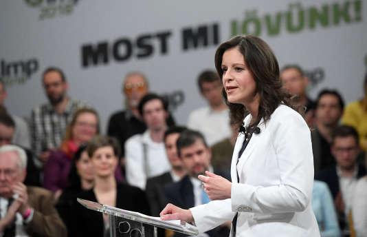 La coprésidente du LMP, Bernadett Szel, à Budapest, le 6 avril.
