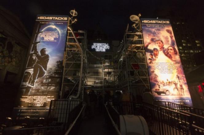 Le film de Steven Spielberg «Ready Player One» à l'affiche d'un cinéma de Vancouver.