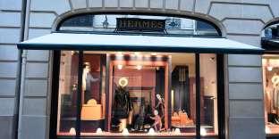 La boutique Hermès de la rue du Faubourg-Saint-Honoré, à Paris.