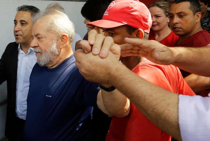 Lula, le 7 avril au siège du syndicat des métallurgistes, Sao Bernardo do Campo, près de Sao Paulo.