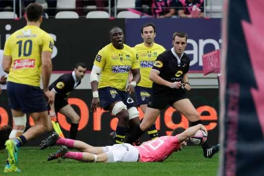 Essais d'Arthur Coville pour le Stade Français le 7 avril au stade Jean-Bouin, face à l'ASM Clermont.