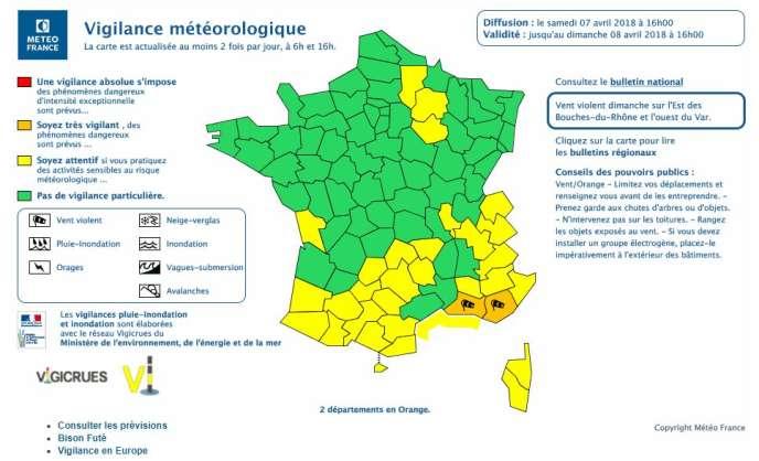 Bulletin émis par Météo France, samedi 7 avril.