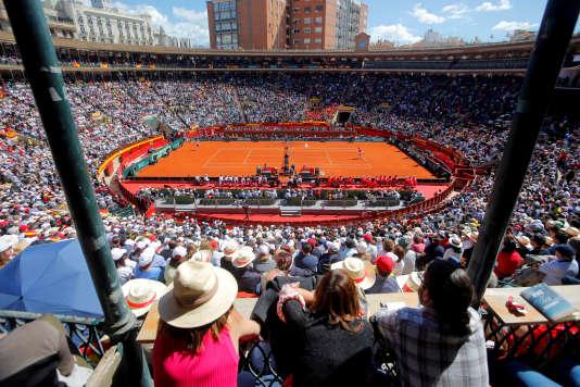 Lors du quart de finale Espagne-Allemagne de la Coupe Davis à Valence, le 8 avril.