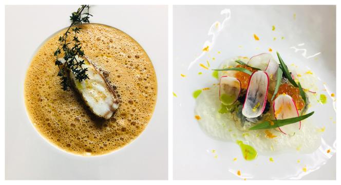 L'omble chevalier aux champignons et jus de coquillages et le caviar de Sologne aux huîtres pochées.