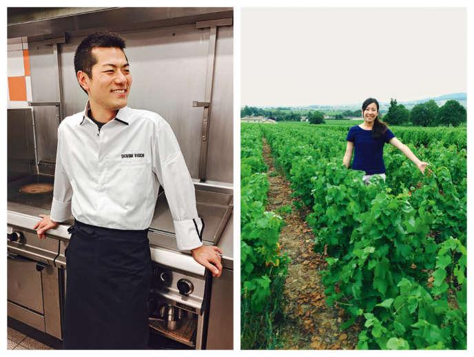 Le chef Takafumi Kikuchi et la sommelière Shoko Hasegawa du restaurant La Sommelière, à Lyon.