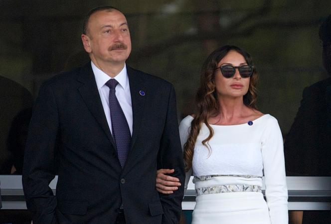 Ilham Aliev et sa femme Mehriban Aliyeva au grand prix de F1 de Bakou, le 19 juin 2016.
