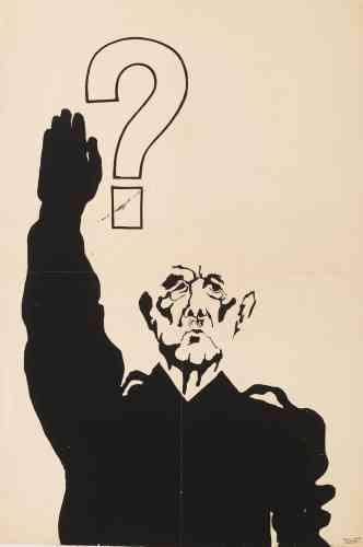 «Le salut qui est montré sur cette affiche dépeint le général de Gaulle en dictateur. Il est considéré comme un collaborateur et revêt le costume d'un militaire, évoquant le slogan de 1948: «CRS SS». Le point d'interrogation soulève l'idée d'une hypothèse: appliquera-t-il l'article16 de la Constitution, en cette période de crise, qui lui accorderait les pleins pouvoirs?»