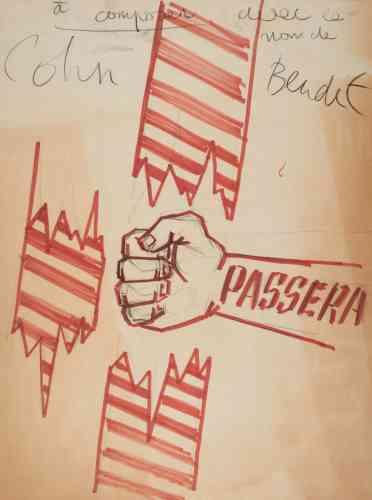 «Les deux affiches qui suivent posent la question de la libre circulation des étudiants avec la frontière allemande et le retour du leader Cohn-Bendit: n'ayant pas à l'époque la nationalité française, ce dernier a été expulsé le 21mai en Allemagne, mais rentrera clandestinement en France le 28mai.»