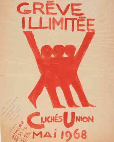 «Chaque projet d'affiche était débattu en assemblée générale: celle-ci fut acceptée avec son texte et son graphisme d'origine. Sobre et efficace, elle rappelle que Mai68 est le plus grand mouvement social du XXesiècle en France, c'est-à-dire une grève générale qui a réuni les services publics et le privé, sans l'évocation d'un syndicat. C'est une époque où il y a eu une unité des fronts. »