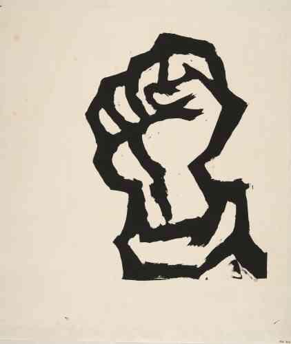 «Cette affiche est rare, car elle est sans texte. Le poing levé – celui également du soulèvement– renvoie au Front populaire de1936, à toute une histoire politique. C'est une image iconique et qui dépasse les frontières.»