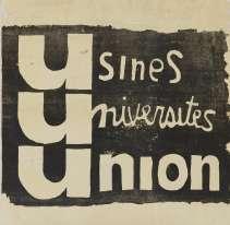 «Les trois U témoignent de l'union des ouvriers avecle travail des étudiants de l'atelier populaire des Beaux-Arts – qui sort ici sa première affiche. Ces trois lettres révèlent la solidarité qui existait entre les universitaires et le monde ouvrier pendant cette période de révolte. »
