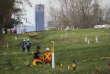 Des ouvriers préparent l'élargissement de l'oéloduc Trans Mountain, à Burnaby, en Colombie-Britannique, le 9 avril.