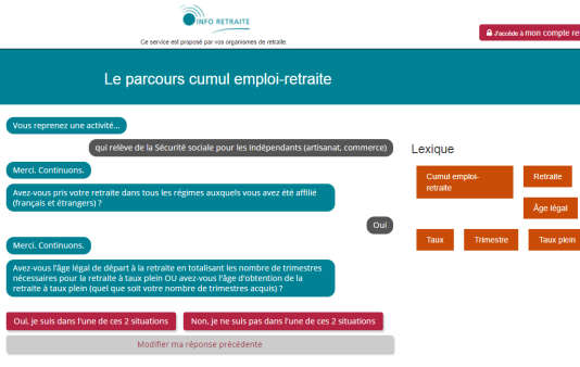 Parcours.Info-retraite.fr est un nouvel outilmis en ligne cette semaine pour connaître les modalités et conditions de cumul emploi-retraite.