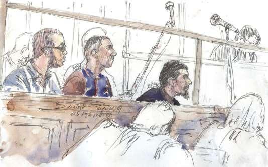 Hamza Mosli, Adil Barki et Ali Abdoumi, le 4avril, devant la 16echambre du tribunal correctionnel de Paris.