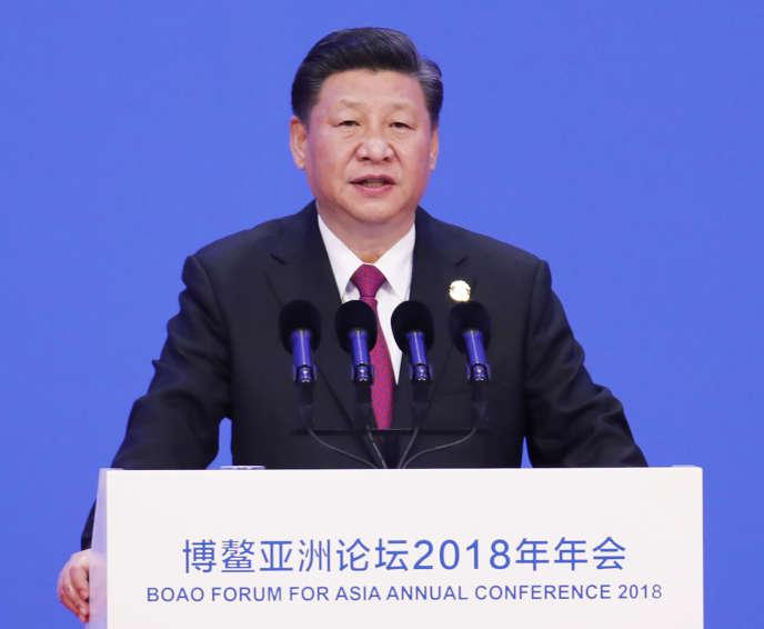Le président chinois, Xi Jinping, mardi 10 avril, au Forum de Boao pour l'Asie, sur l'île province de Hainan.