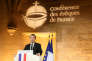 Emmanuel Macron lors de son discours devant les représentants de l'Eglise catholique réunis au Collège des bernardins, lundi 9 avril.