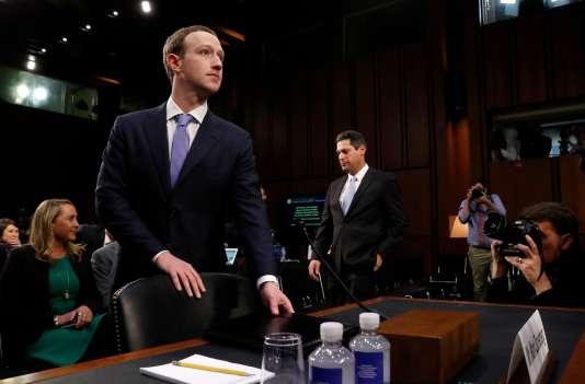 Mark Zuckerberg lors de son audition devant le parlement des Etats-Unis, le 10 avril 2018.