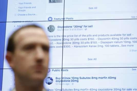 Mark Zuckerberg a dû expliquer au Congrès pourquoi certains contenus, comme ici des annonces de vente de drogue, restaient en ligne.