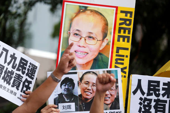 Manifestation de soutien à Liu Xia, à Hongkong, en octobre 2016.
