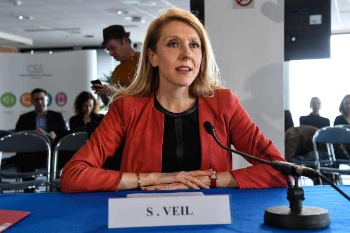 Sibyle Veil, lors de son audition au Conseil supérieur de l'audiovisuel, à Paris, jeudi 12 avril.