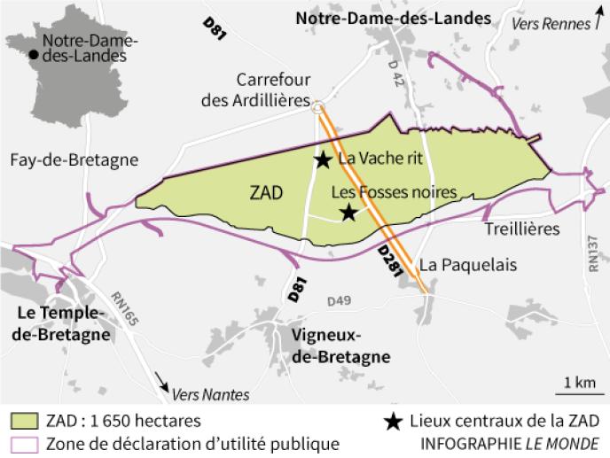 Carte de situation de la ZAD de Notre-Dame-des-Landes.