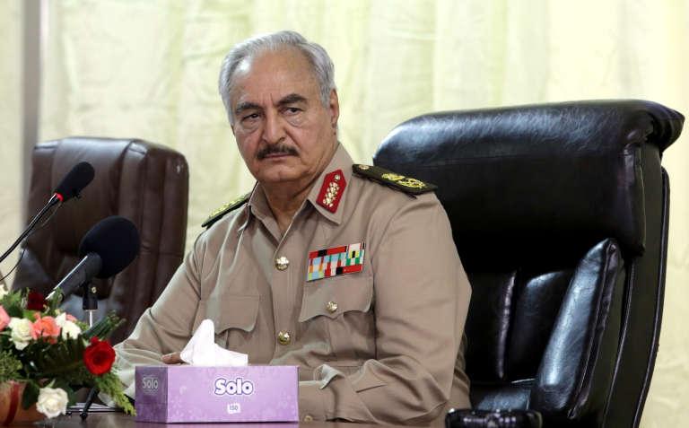 Le maréchal Khalifa Haftar àBenghazi, dans l'est de la Libye, en octobre2017.