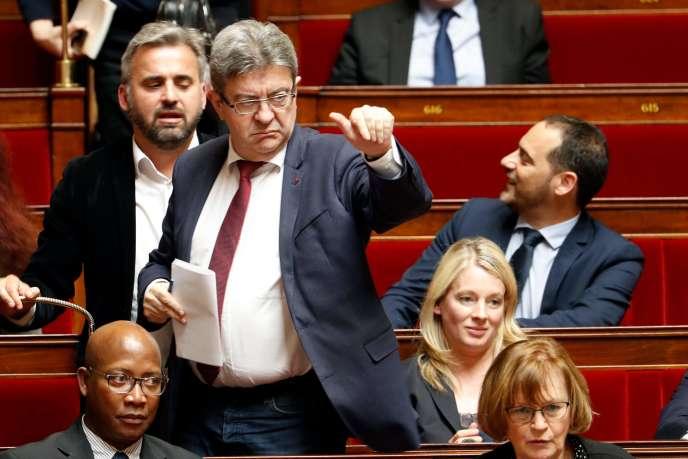 Jean-Luc Mélenchon à l'Assemblée, le 11 avril.